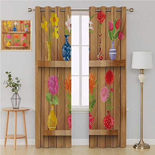 Benmo House Daffodil Gromit Curtains Room Darkening Curtains,Glass Vases with Colorful Flowers on Wooden Shelves with Pastel Effects Artsy Graphic Country Curtain 96 by 108 Inch Multi