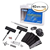WYNNsky Tire Repair Kit, 47 Pieces T-Handle Tire Repair Plugs Kit with Tire Gauge, Plug Strips And Patches, Bike, Bicycle,Motorcycle Tire Repair Tool Kit ( 40 SETS PACK )