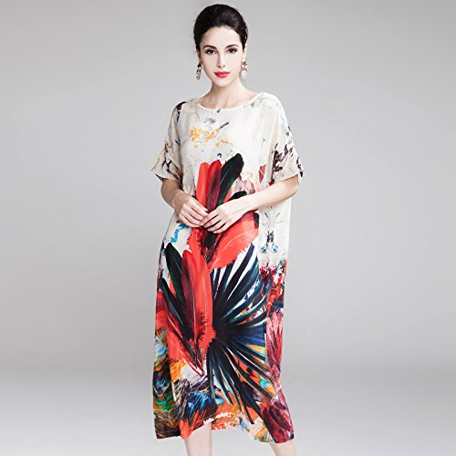M Dress M RENQINGLIN Loose Seta Fashion Printing Midi Sciolto Party Summer Swing Dressevening In Abito UUwnT76qH