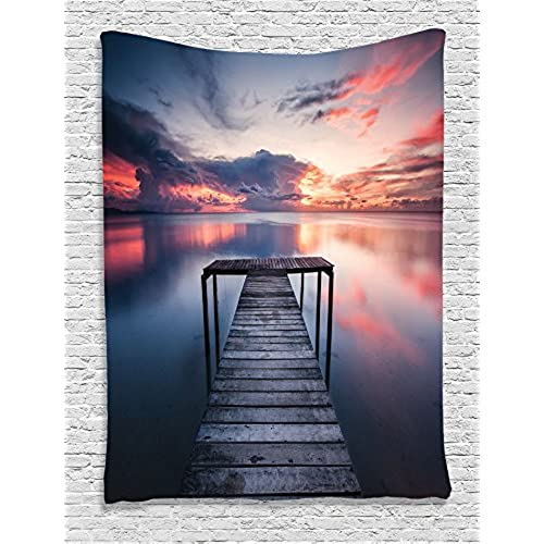 ... Wooden Jetty Ocean At Sunset Romantic Seascape View, Bedroom Living  Kids Girls Boys Room Dorm Accessories Wall Hanging Tapestry, Coral Blue  Dimgray