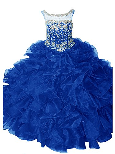 WZY Girls Rhinestones Beading Ruffled Ball Gown Pageant Dresses (10, Royal Blue) by WZY