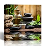 Emvency Painting Canvas Print Wooden Frame Green Ayurveda Zen Basalt Stones and Spa Oil on the Wood Black Massage Candle 20x20 Inches Wall Art