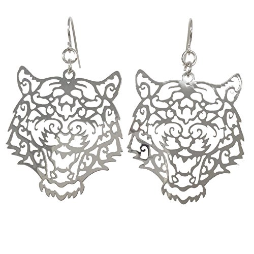 Laser Cut Tiger Face Open Thin Filigree Swirl Dangle Drop Earrings (Silver Tone) (Earrings University Clemson Paw)