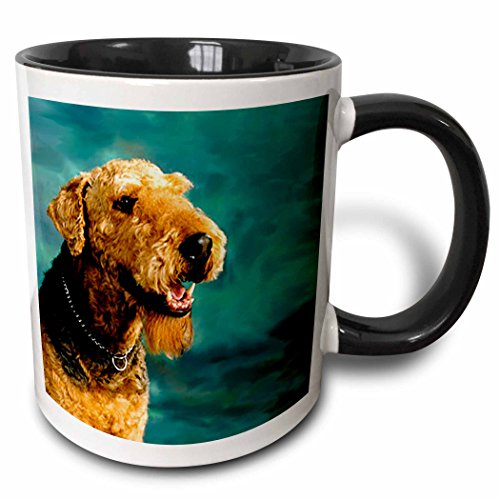 - 3dRose Airedale Terrier Two Tone Black Mug, 11 oz, Black/White