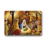 "LiFei Business Special Design funny Christmas Nativity Holy Family Non-slip door mat Custom Doormat Indoor/Outdoor Personalized Doormat 18"" x 30"""