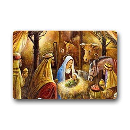 "LiFei Business Special Design funny Christmas Nativity Holy Family Non-slip door mat Custom Doormat Indoor/Outdoor Personalized Doormat 18"" x 30"" by LiFei Business"
