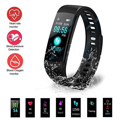 Fitness Tracker HR, Activity Tracker with Heart Rate Monitor Watch, IP67 Waterproof Smart Wristband with Calorie Counter Watch Pedometer Sleep Monitor for Kids Women Men (5 Superior Automatic Mens Watch)