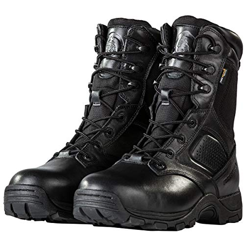 FREE SOLDIER Steel Toe Work Boots for Men Waterproof Insulated Composite Boots Tactical Combat Boots (Black, 11 M US)
