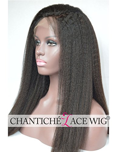 Chantiche Natural Looking Italian Yaki Glueless Full Lace Wigs with Baby Hair for Black Women Best Brazilian Remy Human Hair Wig 130 Density 16inch Natural Color by Chantiche Lace Wig (Image #4)