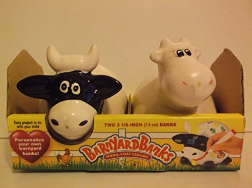 Personalize Your Own Barnyard Resin Cow Money Banksset Of Two