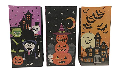 Halloween Party Pack Bundle Paper Treat Bags 3 Designs (45 pcs)