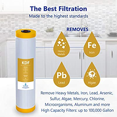 "Express Water - Kinetic Degradation Fluxion Replacement Filter - KDF Catalytic Carbon Large Capacity Water Filter - Whole House Heavy Metal Filtration - 4.5"" x 20"" inch"
