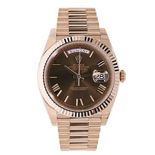 Dial President Bracelet (Rolex Day-Date 40mm Rose Gold President Chocolate Roman Dial Watch 228235)