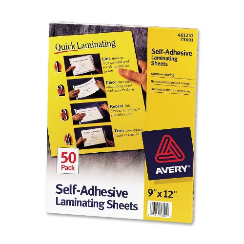 Avery Self-Adhesive Laminating Sheets, Clear Heavy Weight Quick Laminating, 9 x 12 Inches, Box of 50 (73601) (Self Pouch Adhesive)