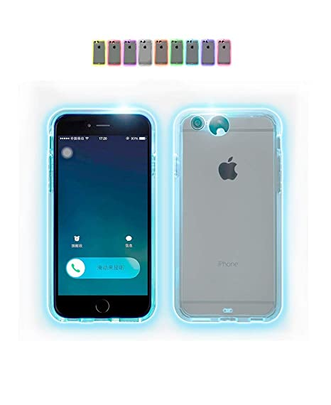 premium selection 5e329 e1e58 Nanmate Creative LED Light up Incoming Call Flash Cover Anti-Scratch Clear  Back Case For iphone 8/7 (iPhone 7/8-4.7 inch)