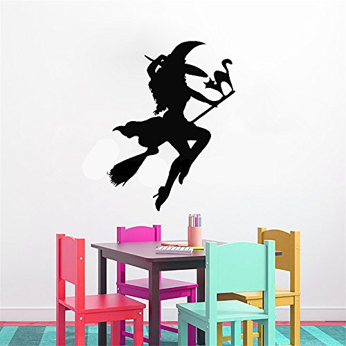 Vinyl Wall Art Inspirational Quotes and Saying Home Decor Decal Sticker Girl Witch on Broom with Cat for Halloween Festival Party Kids Room -