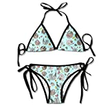 Sloth Loves Fruits Halter Neck Bikini Set Padded Bra Bather Underwear
