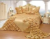Oversized King Comforters 120x120 Octorose Royalty Oversize Wedding Bedding Bedspread Quilts Set (Gold, King/calking)