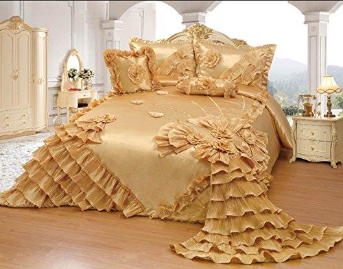 Octorose Royalty Oversize Wedding Bedding Bedspread Quilts Set (Gold, Full/queen)