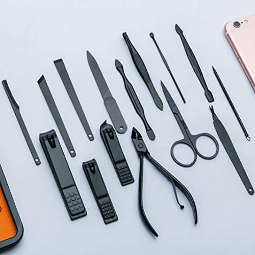 Euryno Professional Stainless Steel Black Polishing Nail Clipper Travel & Grooming Kit Nail Tools Manicure & Pedicure Set of 15 pcs with Stylish Case(Orange) by Euryno (Image #8)