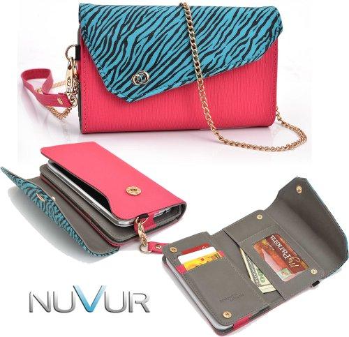 zebra-aqua-blue-hot-pink-safari-link-htc-evo-4g-lte-phone-holder-wirstlet-wallet-case-escrslm1-