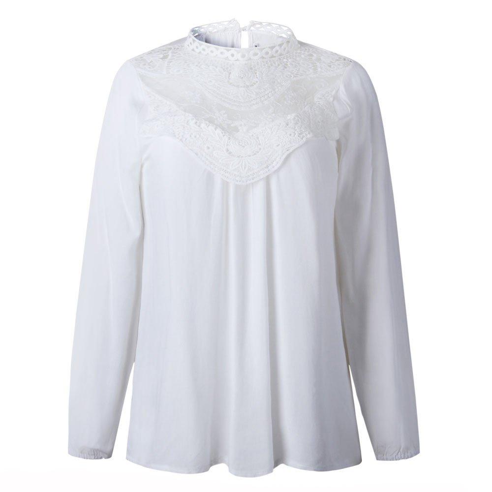 cdc1d90f3687 Btruely Damen Tops Sommer Frau T-Shirt Langarm Bluse Spitze Hemd  O-Ausschnitt Oberteile Casual Tops Mode Pullover