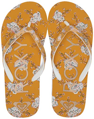 Roxy Girls' RG Pebbles Flip Flop Sandal, Mustard Floral 2 Medium Youth US Big Kid ()