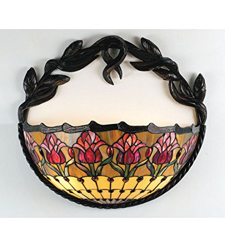 - Tiffany Style Stained Glass Light Colonial Tulip Wall Sconce