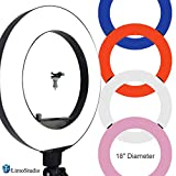 LimoStudio 18 inch Fluorescent 5500K Dimmable Ring Light and Portrait Light with 4-Color Ring Light Diffuser Cloth (White, Orange, Pink, Blue) for Soft Light, Warm to Cool Colors, AGG2329