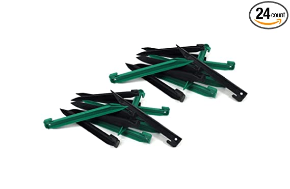 24 Piece Medium Heavy Duty Plastic Tent Nails Stakes Pegs (12 Black + 12 Green)