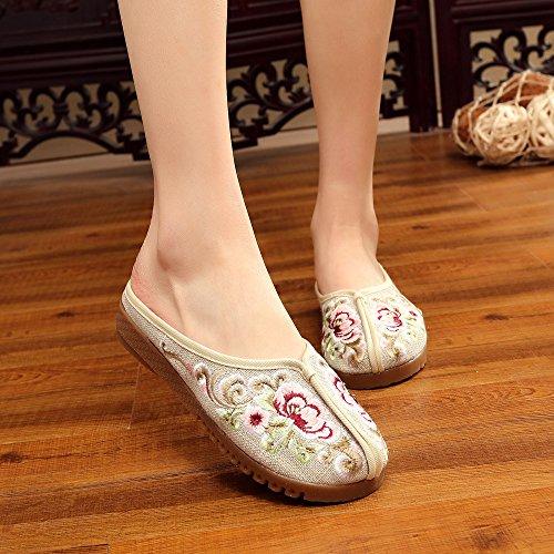Meters Scarpe Stile Zll Infradito Comodi Unico White Moda Tendine Etnico Femminile Ricamate Sandali Casuali gqAxfndw7A
