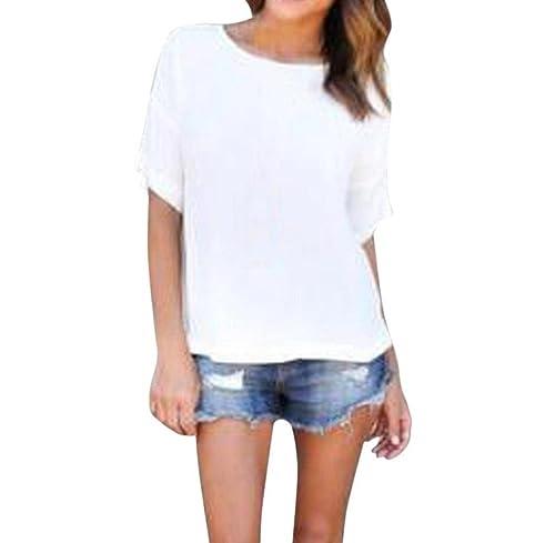 Tongshi Mujeres Sueltas Jersey T Camisa Manga Corta Tapas Sólidas Casual Blusa De Gasa