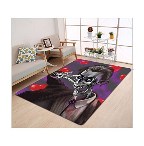 Exquisite Corpse Costume (Kisscase Custom carpet Skull Decor Romantic Skeleton Handsome Corpse Groom with Tuxedo Hearts in the Backdrop Black and Red)