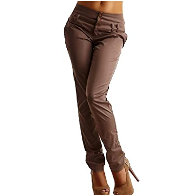 ainr Women' Straight Pants Stretch Slim Skinny Solid Trousers Casual Business Office