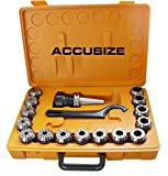 Accusize - CAT40 Shank + 15 Pcs ER40 Collet Set + Wrench in Fitted Strong Box, CT40-ER40