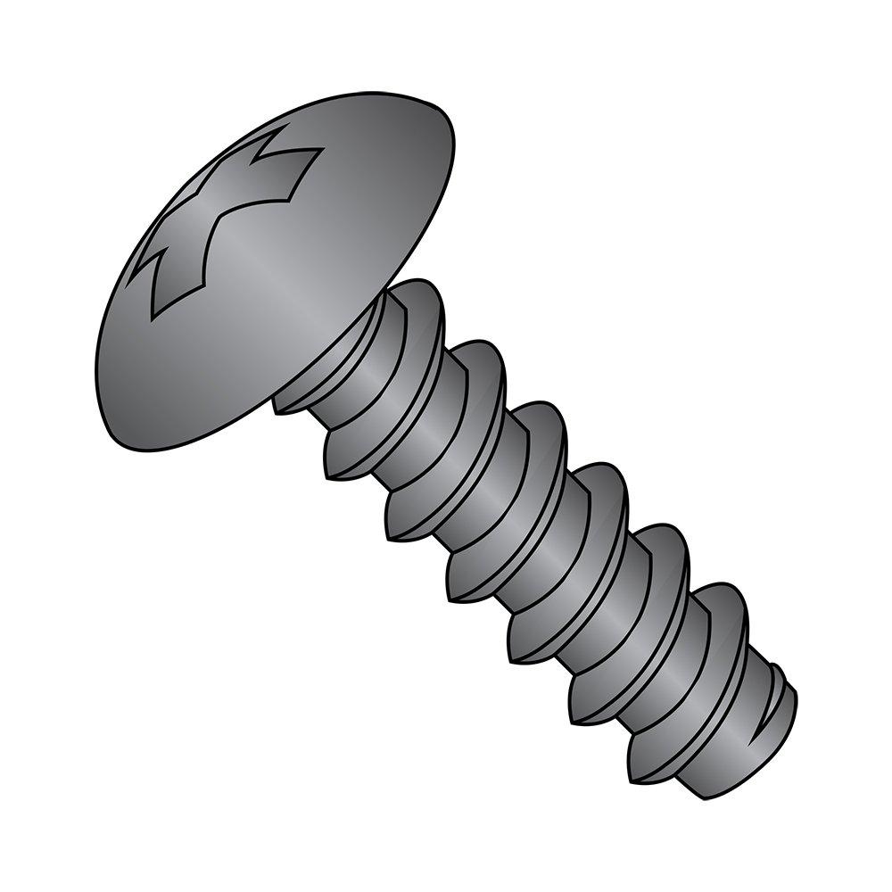 Truss Head 2 Length Black Oxide Finish Phillips Drive Pack of 10 Steel Sheet Metal Screw Type B 1//4-14 Thread Size