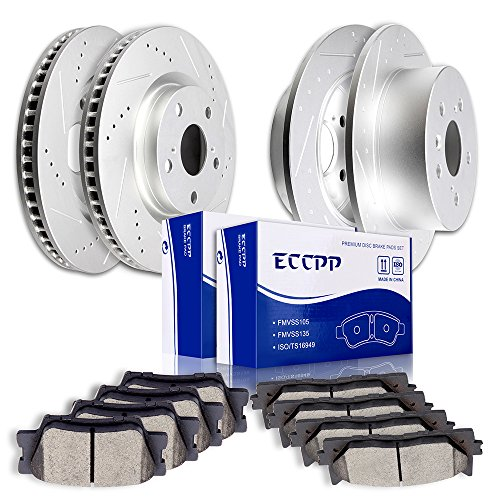 Automotive Replacement Brake Kits,ECCPP Advantage Discs Brake Rotors and Ceramic Disc Brake Pads Kit for 2007 2008 2009 2010 2011 2012 Toyota Avalon Lexus ES350,Front+Rear