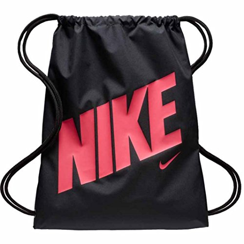 Nike Young Athlete Drawstring Gymsack Backpack Sport Bookbag (Black/Hyper Pink Rush Signature Swoosh)