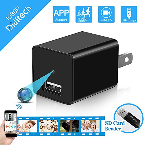 Spy Hidden Camera WiFi, Diditech Spy Camera Wireless Hidden Wall Charger 120 Degree Angle Motion Detection APP Remote Control 1080P Video Recorder Nanny Cam for Home Security