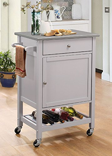 Major-Q 9098302 Stainless Steel and Gray Finish Wheeled Kitchen Island Cart with Spice, Towel, Drawer, and Wine Bottle Rack with Slatted Shelf