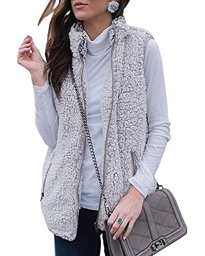 ZESICA Women's Sleeveless Zip Up Fuzzy Fleece Lightweight Fall Warm Zipper Vest with Pockets Grey (Zip Reversible Vest Back)