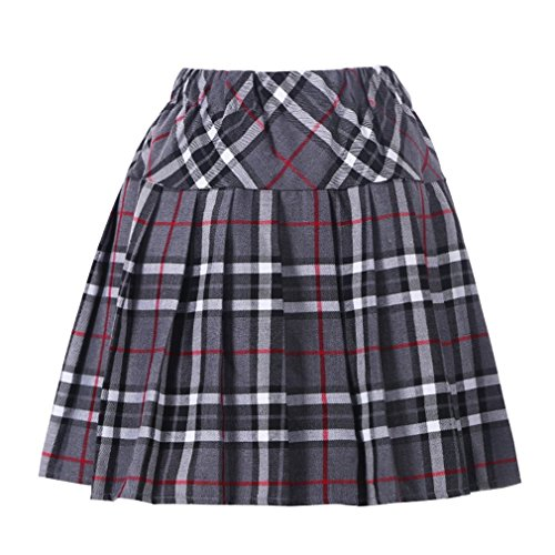 Women`s Fashion short costumes Elasticated Pleat Skirt (L, Grey black)