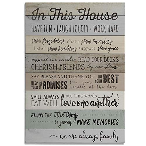 Renditions Gallery in This in This House Rules Wrapped Canvas Decorational Modern Wall Art for Family Living Office Bedroom ()