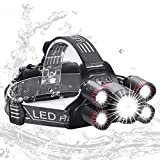 Rechargeable LED Headlamp, Zukvye Brightest CREE LED Headlight Zoomable Waterproof Headlamps Flashlight for Cycling, Running, Dog Walking, Camping, Hiking, Fishing, Night Reading and Works