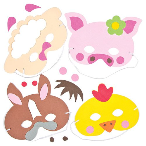 Farm Animals Foam Mask Craft Kits for Children to Make Decorate and Wear Fancy Dress Party (Pack of 5)
