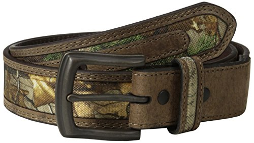 RealTree Camo Men's Camouflage Belt Tan Leather Trim, Realtree Xtra Camo, 42