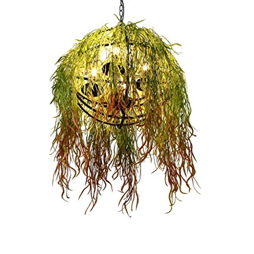 Chandeliers Wrought Iron Simulation Green Plant Bedroom Living Room Warm Party (Color : Green, Size : 353545cm) ()