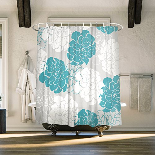 Hot Sale 2017 Vandarllin Peony Flower Floral Fabric Extra Long Shower Curtains For BathroomMildew