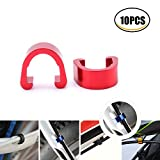 frame bmx - YESON 10pcs Various Color Aluminum bicycle c clips Brake Shifter housing Bike cable clips Frame U Buckle Hose Guides Fixed Tubing Clasps derailleur Line Clamps for MTB Road Mountain bike Guide