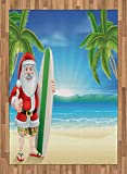Christmas Area Rug by Ambesonne, Santa Claus with Trunks on the Beach and Surfboard Sunny Hot Christmas Theme, Flat Woven Accent Rug for Living Room Bedroom Dining Room, 5.2 x 7.5 FT, Blue Green
